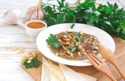Baba ganoush - traditional arabian eggplant dip with flat bread Royalty Free Stock Photo