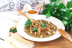 Baba ganoush - traditional arabian eggplant dip with flat bread Royalty Free Stock Photos