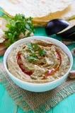 Baba ganush - hummus from eggplant with seasoning, parsley. Eastern cuisine Royalty Free Stock Photography