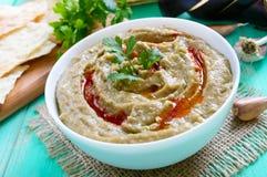 Baba ganush - hummus from eggplant with seasoning, parsley. Eastern cuisine Royalty Free Stock Photo