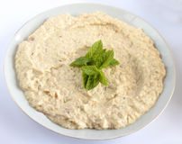 Baba ghanouj, Traditional Lebanese / Mediterranean food. Cooked from eggplant royalty free stock photo