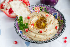 Baba ghanoush, levantine eggplant dip with olive oil and parsley Royalty Free Stock Photo
