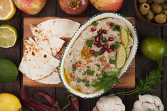 Baba ghanoush, levantine eggplant dip Royalty Free Stock Images