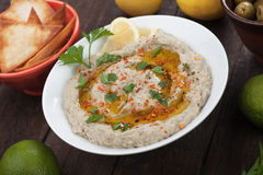 Baba ghanoush, levantine eggplant dish. With olive oil and parsley Stock Images