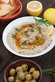 Baba ghanoush, levantine eggplant dish. With parsley and olive oil Stock Image