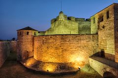 Baba Vida Castle By Night In Vidin, Bulgarien stockfoto