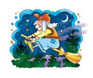 Baba Yaga é o poder mágico da bruxa mágica da mulher adulta Foto de Stock Royalty Free