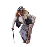 Baba Yaga in old clothes Stock Images