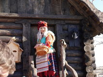 Baba Yaga in Sochi-Park. Adler, Krasnodarsky krai, Russia. Adler, Russia - March 09, 2016: Woman in the role of Baba Yaga witch in russian fairy tales in front Stock Photography