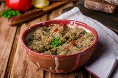 Babaganoush avec les tomates, le concombre et le persil - plat ou salade Arabe d'aubergine sur le fond en bois Foyer sélectif images libres de droits