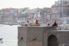 Babas at the Ganga Ghat. Holy river in Varanasi, Uttar Pradesh, India Royalty Free Stock Photos