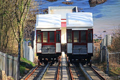 Babbacombe Cliff Railway. Passing cars on Babbacombe cliff railway Stock Images
