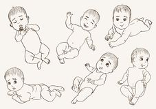 Babbie. Set of vector sketches on grey background Stock Photo