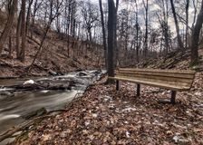 A babbling brook and bench Royalty Free Stock Image