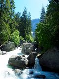 Babbling Brook in Yosemite National Park. A babbling brook with whitewater leading away from Vernal Falls in Yosemite National Park in California royalty free stock photos