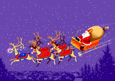 babbo他的natale renne圣诞老人爬犁 免版税库存照片