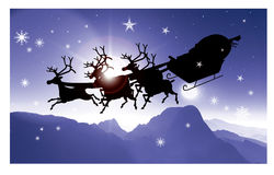 Babbo Natale 1 Santa on his sledge 1. Artistic illustration: In the cold holy night Santa arrives on his sledge from the sky, bringing a lot of gifts Royalty Free Stock Photos