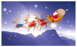 Babbo Natale 2 Santa on his sledge. Artistic illustration: In the cold holy night Santa arrives on his sledge from the sky, bringing a lot of gifts Royalty Free Stock Photos