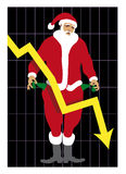 Babbo Natale al verde 2_Unemployed Santa 2. Artistic illustration: unemployed Santa showing his empty pockets, he's worried about economic recession Royalty Free Stock Images