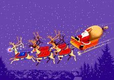 BABBO-NATALE-RENNE Santa sulla sua slitta Fotografia Stock Libera da Diritti