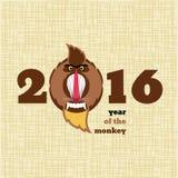 Babbuino sveglio del fumetto, illustrazione per il calendario Fotografia Stock