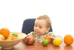 Babby and fruits Royalty Free Stock Photos