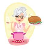 Babci kulinarna polewka i porcja kurczak Zdjęcia Royalty Free