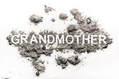 Babci słowo pisać w popióle jako starej kobiety rodziny kremacja zdjęcia stock
