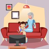 Babcia czyta książkę jej wnuczka royalty ilustracja