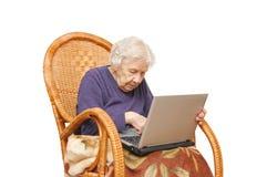 babcia laptop obraz stock