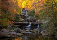 Babcock Mill in autumn in West Virginia stock photo
