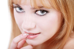 Babe. Close-up portrait of young pretty blond girl with foxy expression, selective focus Royalty Free Stock Photo