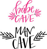 Babe Cave & Man Cave. Hand lettered titles 'babe cave' and 'man cave Stock Image