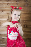 Babe collect Easter eggs royalty free stock photography