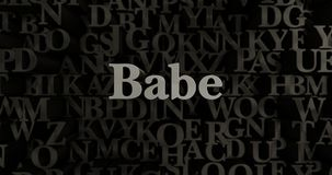 Babe - 3D rendered metallic typeset headline illustration. Can be used for an online banner ad or a print postcard Stock Photos