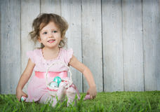 Babe with Easter eggs royalty free stock images