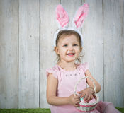Babe with Easter eggs royalty free stock image
