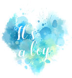 Babe gender reveal watercolored heart. Baby gender reveal concept illustration. Watercolor imitation heart.  It`a a boy. Blue colored Royalty Free Stock Photography