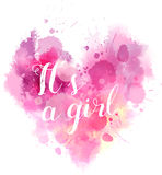 Babe gender reveal watercolored heart. Baby gender reveal concept illustration. Watercolor imitation heart. It`a a girl. Pink colored Royalty Free Stock Photos