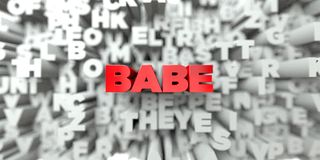 BABE -  Red text on typography background - 3D rendered royalty free stock image. This image can be used for an online website banner ad or a print postcard Stock Images