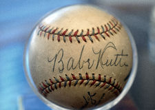 Babe Ruth Baseball. Photo of authentic signed Babe Ruth baseball. He was somtimes called the Bambino stock photos
