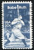Babe Ruth. UNITED STATES - CIRCA 1983: stamp printed by United States of America, shows sportsman Babe Ruth, circa 1983 royalty free stock photos