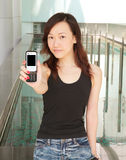 Babe Showing Off Phone. With Blank Space stock images