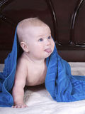Babe Under The Blue Towel Royalty Free Stock Image