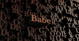 Babe - Wooden 3D rendered letters/message. Can be used for an online banner ad or a print postcard Royalty Free Stock Photography