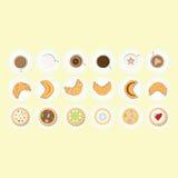 Babeczek, herbaty, kawy i croissant ustaleni różni kolory, Obraz Royalty Free