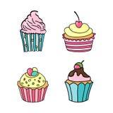 babeczka cukierki Set ręki rysować babeczki Doodle zasycha z śmietanką i jagodami również zwrócić corel ilustracji wektora Fotografia Stock