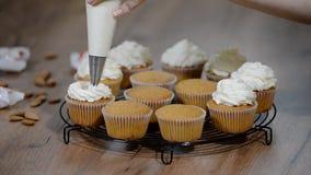 Babeczka dekorująca śmietanka Cukierniczka dekoruje kremowych torty zdjęcie wideo