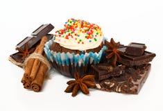 Babeczka i czekolada na białym tle obrazy stock