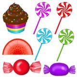 Babeczka, lizaki, Candyslice, cukierek Zdjęcie Stock